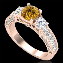 2.07 CTW Intense Fancy Yellow Diamond Art Deco 3 Stone Ring 18K Rose Gold - REF-254F5M - 37785