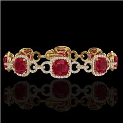 25 CTW Ruby & Micro VS/SI Diamond Certified Bracelet 14K Yellow Gold - REF-457R3K - 23029