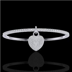 3.50 CTW Eternity Micro Pave VS/SI Diamond Eternity Bangle 14K White Gold - REF-259W6H - 20037