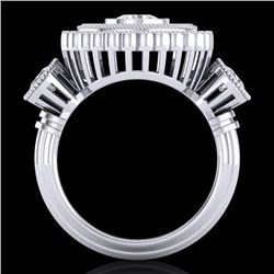 2.62 CTW VS/SI Diamond Solitaire Art Deco 3 Stone Ring 18K White Gold - REF-315H2W - 37088