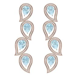 15.69 CTW Royalty Sky Topaz & VS Diamond Earrings 18K Rose Gold - REF-281M8F - 39460