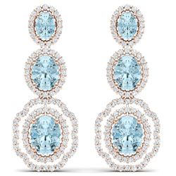 17.96 CTW Royalty Sky Topaz & VS Diamond Earrings 18K Rose Gold - REF-290Y9N - 39214