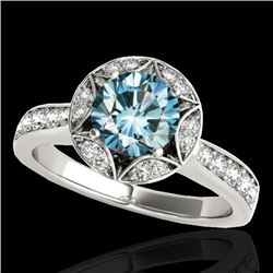 1.5 CTW SI Certified Fancy Blue Diamond Solitaire Halo Ring 10K White Gold - REF-180X2T - 34234