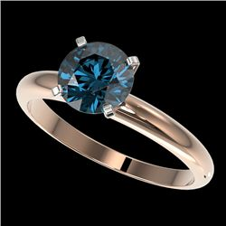 1.50 CTW Certified Intense Blue SI Diamond Solitaire Engagement Ring 10K Rose Gold - REF-240M2F - 32