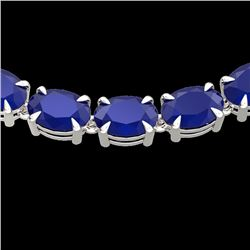 68 CTW Sapphire Eternity Designer Inspired Tennis Necklace 14K White Gold - REF-234T9X - 23403