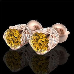 3 CTW Intense Fancy Yellow Diamond Art Deco Stud Earrings 18K Rose Gold - REF-349H3W - 37421