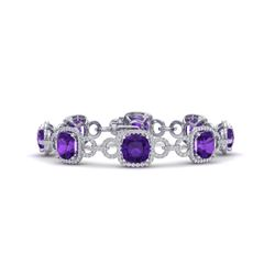 30 CTW Amethyst & VS/SI Diamond Certified Bracelet 14K White Gold - REF-368N9Y - 23015