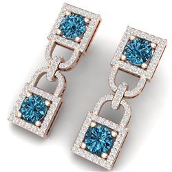 4 CTW Certified Si/I Fancy Blue And White Diamond Earrings 18K Rose Gold - REF-265W9H - 40161
