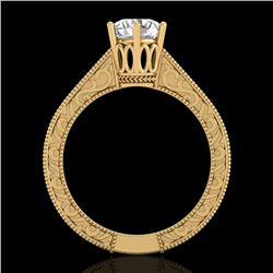 1 CTW VS/SI Diamond Solitaire Art Deco Ring 18K Yellow Gold - REF-330R2K - 36928