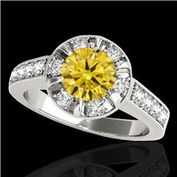 2 2 CTW Certified Si Fancy Intense Yellow Diamond Solitaire Halo Ring 10K White Gold - REF-236T4X -