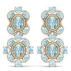 34.96 CTW Royalty Sky Topaz & VS Diamond Earrings 18K Yellow Gold - REF-418M2F - 39323