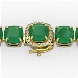 46 CTW Emerald & Micro Pave VS/SI Diamond Halo Bracelet 14K Yellow Gold - REF-290M9F - 23306