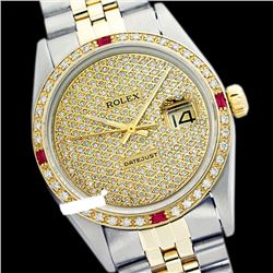 Rolex Men's Two Tone 14K Gold/SS, QuickSet, Diam Pave Dial & Diam/Ruby Bezel - REF-572Z7Y