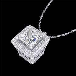 1.93 CTW Princess VS/SI Diamond Solitaire Micro Pave Necklace 18K White Gold - REF-436K4R - 37172