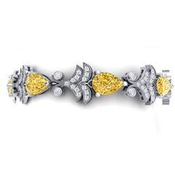 23.66 CTW Royalty Canary Citrine & VS Diamond Bracelet 18K White Gold - REF-381R8K - 38742