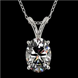 1 CTW Certified VS/SI Quality Oval Diamond Solitaire Necklace 10K White Gold - REF-267K8R - 33192