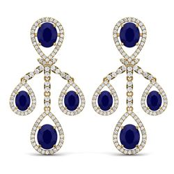 25.08 CTW Royalty Sapphire & VS Diamond Earrings 18K Yellow Gold - REF-490W9H - 38579