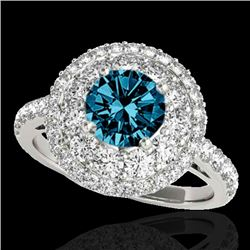 2.09 CTW SI Certified Fancy Blue Diamond Solitaire Halo Ring 10K White Gold - REF-220H2W - 33693