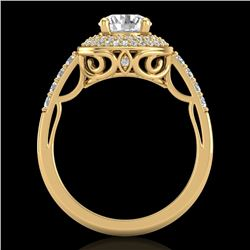 1.7 CTW VS/SI Diamond Solitaire Art Deco Ring 18K Yellow Gold - REF-436H4W - 37255