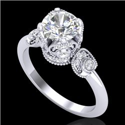 1.75 CTW VS/SI Diamond Art Deco Ring 18K White Gold - REF-398W2H - 36854