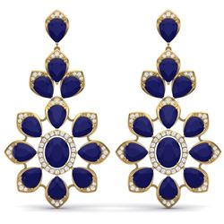 51.8 CTW Royalty Sapphire & VS Diamond Earrings 18K Yellow Gold - REF-509R3K - 39053
