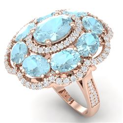 14.89 CTW Royalty Sky Topaz & VS Diamond Ring 18K Rose Gold - REF-218F2M - 39196