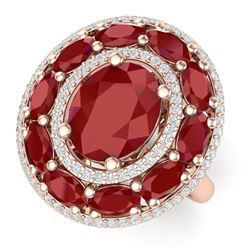 8.05 CTW Royalty Designer Ruby & VS Diamond Ring 18K Rose Gold - REF-143T6X - 39241
