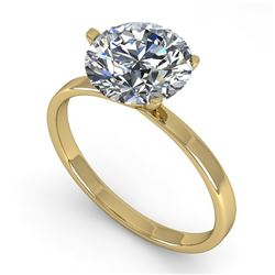 2 CTW Certified VS/SI Diamond Engagement Ring 14K Yellow Gold - REF-924X8T - 38339