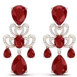 58.73 CTW Royalty Designer Ruby & VS Diamond Earrings 18K Rose Gold - REF-636Y4N - 38674