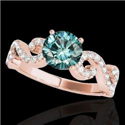1.4 CTW SI Certified Fancy Blue Diamond Solitaire Ring 10K Rose Gold - REF-162T4X - 35247