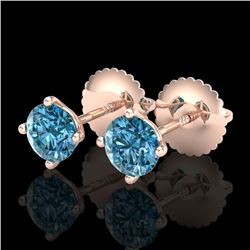 0.65 CTW Fancy Intense Blue Diamond Art Deco Stud Earrings 18K Rose Gold - REF-81H8W - 38224