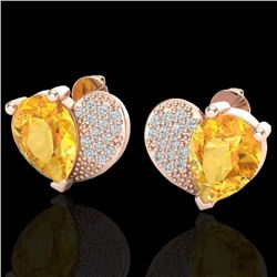 2.50 CTW Citrine & Micro Pave VS/SI Diamond Certified Earrings 10K Rose Gold - REF-30M2F - 20069