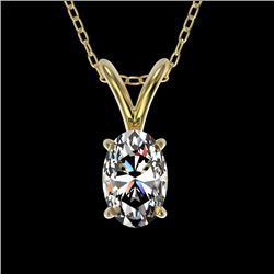 0.50 CTW Certified VS/SI Quality Oval Diamond Solitaire Necklace 10K Yellow Gold - REF-74X5T - 33165