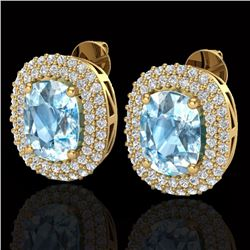 6 CTW Sky Blue Topaz & Micro Pave VS/SI Diamond Halo Earrings 10K Yellow Gold - REF-95Y3N - 20113