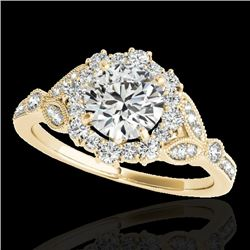 1.5 CTW H-SI/I Certified Diamond Solitaire Halo Ring 10K Yellow Gold - REF-174K5R - 33762