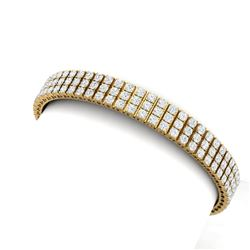 12 CTW Certified SI/I Diamond Bracelet 18K Yellow Gold - REF-620N5Y - 39943