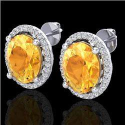 5 CTW Citrine & Micro Pave VS/SI Diamond Certified Earrings Halo 18K White Gold - REF-73M6F - 21051