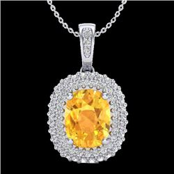 3 CTW Citrine & Micro Pave VS/SI Diamond Certified Halo Necklace 14K White Gold - REF-65W5H - 20411