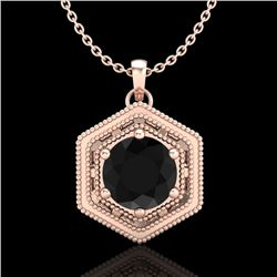 0.76 CTW Fancy Black Diamond Solitaire Art Deco Stud Necklace 18K Rose Gold - REF-47K3R - 37514
