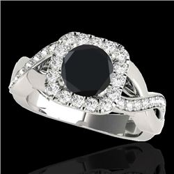 1.65 CTW Certified Vs Black Diamond Solitaire Halo Ring 10K White Gold - REF-80F8M - 33310