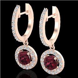 1.75 CTW Garnet & Micro Halo VS/SI Diamond Certified Earrings 14K Rose Gold - REF-71R3K - 23257