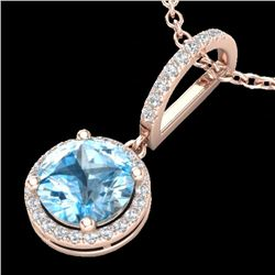2.75 CTW Sky Blue Topaz & Micro Pave VS/SI Diamond Necklace 1Kk 14K Rose Gold - REF-45Y5N - 23201