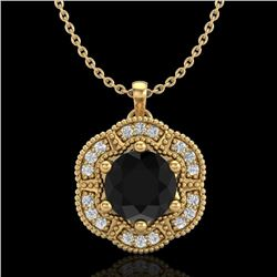 1.01 CTW Fancy Black Diamond Solitaire Art Deco Stud Necklace 18K Yellow Gold - REF-74R2K - 37970