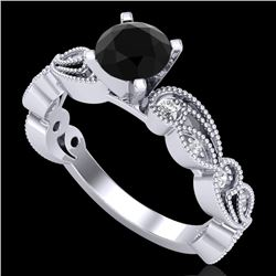 1.01 CTW Fancy Black Diamond Solitaire Engagement Art Deco Ring 18K White Gold - REF-87X3T - 38269