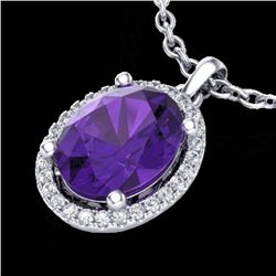 2.50 CTW Amethyst & Micro Pave VS/SI Diamond Necklace Halo 18K White Gold - REF-44H9W - 21067
