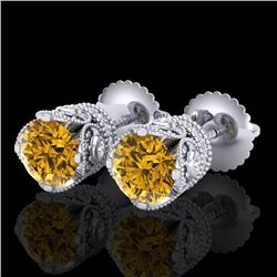 1.85 CTW Intense Fancy Yellow Diamond Art Deco Stud Earrings 18K White Gold - REF-172R8K - 37413