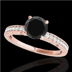 1.43 CTW Certified Vs Black Diamond Solitaire Antique Ring 10K Rose Gold - REF-54F4M - 34616