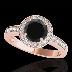1.4 CTW Certified Vs Black Diamond Solitaire Halo Ring 10K Rose Gold - REF-67M8F - 34346