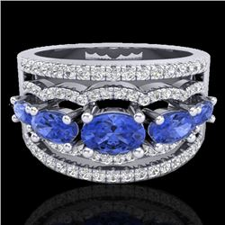 2.25 CTW Tanzanite & Micro Pave VS/SI Diamond Certified Designer Ring 10K White Gold - REF-80M2F - 2