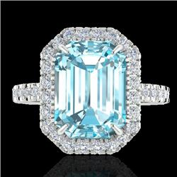 63 CTW Sky Blue Topaz & Micro Pave VS/SI Diamond Halo Ring 18K White Gold - REF-61F8M - 21420